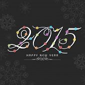 Happy New Year 2015 celebrations greeting card design with colorful text on snowflakes decorated grey background.