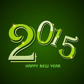 Happy New Year 2015 celebrations greeting card design with stylish text on green background.