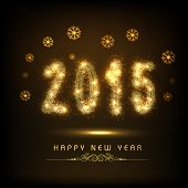 Happy New Year 2015 celebration greeting card design with golden text on floral design decorated bro