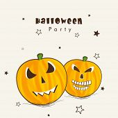 Happy Halloween party celebration poster, banner or flyer with smiling pumpkins on decorated beige b