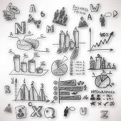 Abstract Background With Blurred Doodles And Sketches On The Theme Of Business