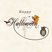 Poster, banner or invitation for Happy Halloween party celebration with scary pumpkin, traditional ghost and owl on beige background.