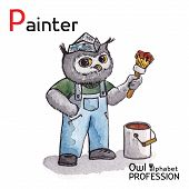 Alphabet professions Owl Letter P - Painter character Vector Watercolor.