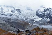 foto of avalanche  - Annapurna Base Camp part of Annapurna Circuit trekking route is often covered by avalanches
