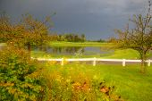 Dramatic landscape of Golf course with stormy sky