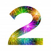 Number of colorful firework, two