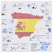 Dot And Flag Map Of Spain Infographic Design