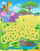 Maze 16 with tropical animals - eps10 vector illustration.