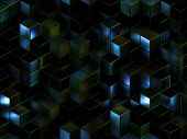 Cubes abstract background with a lot of concepts and metaphors: business, team, technologies, indust