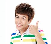 young casual man going thumb up,