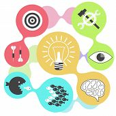 Icon set brain light bulb darts target fish eye gear