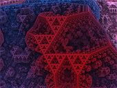 image of tetrahedron  - Sierpinski colored tetrahedron in fantasy fractal city - JPG