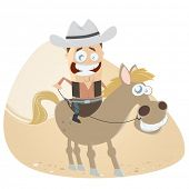 funny cartoon cowboy and his horse