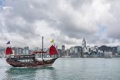 HONG KONG, CHINA - MAY 19 : Famous Aqua Luna boat sail on the victoria harbour in Hong Kong, China on 19th May 2014.