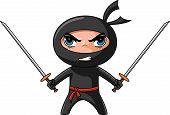 stock photo of manga  - Cute furious ninja with katana ready to attack - JPG
