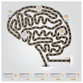 Road And Street Brain Shape Traffic Sign Business Infographic
