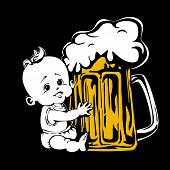Baby & Beer On The Black Background