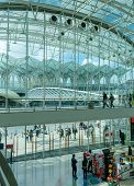 LISBON, PORTUGAL - APRIL 1, 2013: Oriente Train Station. This Station was designed by Santiago Calat