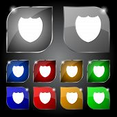 Shield sign icon. Protection symbol. Set colour buttons. Vector