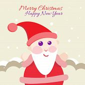 Santa Claus with Merry Christmas Label for Holiday Invitations
