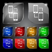 Synchronization sign icon. smartphones sync symbol. Data exchange. Set colur buttons. Vector