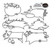 Doodle set elements. Bubble frames, arrows, banners, boxes, cloud