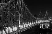 Story Bridge closeup by Night - black and white