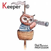 Alphabet professions Owl Letter K - Keeper character Vector Watercolor.