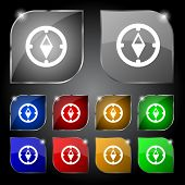Compass sign icon. Windrose navigation symbol. Set colourful buttons. Vecto