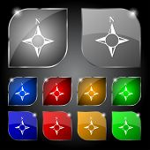 Compass sign icon. Windrose navigation symbol. Set colourful buttons. Vector
