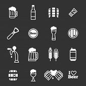 Beer Icons On A Black Background