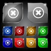 Cancel icon. no sign. Set colour button. Vector