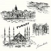Turkey, Istanbul - hand drawn set