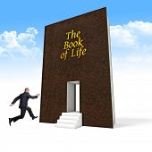 jumping businessman and book of life