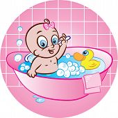 Happy Baby Girl In Bath Tub