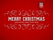 Red Knitted Background with Christmas Label. Holiday Design.