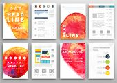 Set of Vector Poster Templates with Watercolor Paint Splash. Abstract Background for Business Docume