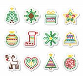 picture of rudolf  - Vector black icons set for celebrating Xmas isolated on white - JPG