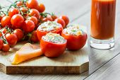Salmon And Feta Cheese Filled Tomatoes