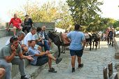 Donkey ride at Lindos village