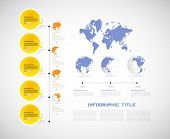 World map. Timeline Infographic. Vector design template