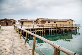 image of reconstruction  - The Bay of the Bones the reconstructed site of a prehistoric settlement at Lake Ohrid - JPG