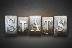 stock photo of statistician  - The word STATS written in vintage letterpress type - JPG