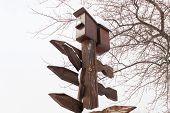 stock photo of nesting box  - Box for waterfowl nesting in winter park - JPG