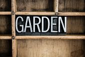 Garden Concept Metal Letterpress Word In Drawer