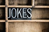 Jokes Concept Metal Letterpress Word In Drawer