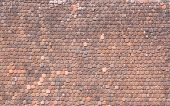 foto of roof tile  - Roof with old roof tiles for background - JPG
