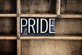 Pride Concept Metal Letterpress Word In Drawer