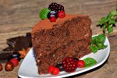 Slice Of Chocolate Sponge Cake