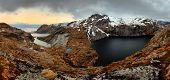 stock photo of lofoten  - Mountain panorama in Norway Lofoten  - JPG